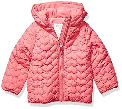 Carter's Girls' Toddler Fleece Lined Puffer Jacket Coat, Rosalie Pink Heart, 2T