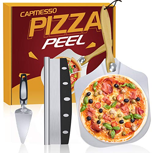 CAPMESSO Aluminum Metal Pizza Peel 12 x14 inch Pizza Spatula with Foldable Wooden Handle & 14 in Rocker Cutter & Server Set- Pizza Accessories and Supplies for Baking and Slicing Homemade Pizza Bread