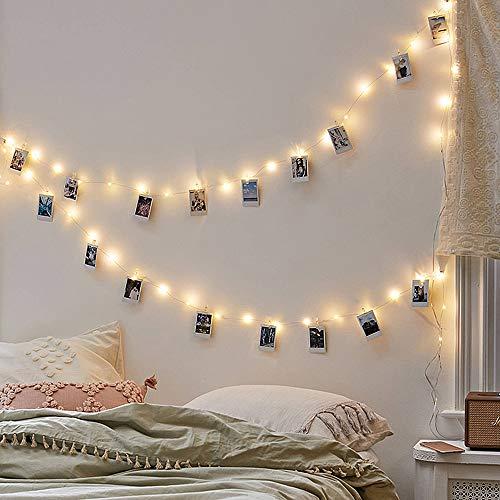 Guirnalda de 4 luces LED con clips de fotos, guirnalda de hadas para regalo de Navidad, fiesta, boda, Año Nuevo, decoración de color blanco cálido