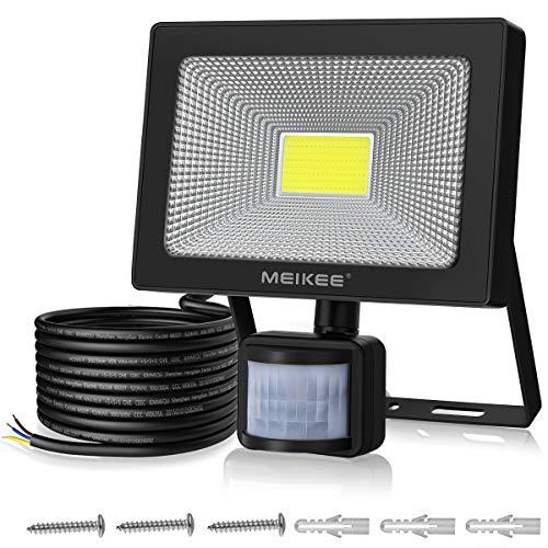 MEIKEE Projecteur LED avec détecteur de mouvement 50W 5000LM lampe de sécurité à LED lumineux 6000K blanc froid lumière du jour Etanche IP66, pour jardin, cour, garage, terrain de sport, etc
