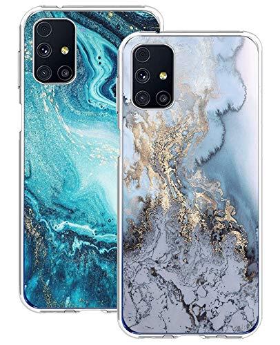 18eay 2 PAC Kompatibel mit Samsung Galaxy M31S Hülle Transparent Silikon TPU Bumper Handyhülle Galaxy M31S Handytasche Hülle Cover Marmor Muster Durchsichtig Schutzhülle für Samsung M31S Handy