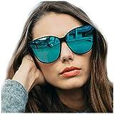 LVIOE Cat Eyes Mirrored Sunglasses for Women, Polarized Oversized Fashion Vintage Eyewear for Driving Fishing UV400 Protection (Black1, Blue)