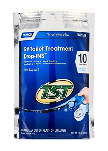 Camco TST Clean Scent RV Toilet Treatment Drop-Ins, Formaldehyde Free, Breaks Down Waste And Tissue, Septic Tank Safe, Treats up to 10 - 40 Gallon Holding Tanks (10-Pack) , TST Blue - 41529