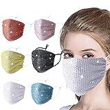 Supertong Unisex Einstellbar Mundschutz Mode Strass Mundbedeckung Waschbar Wiederverwendbar Gesichtsschutz Outdoor Staubdicht Winddicht Radfahren Motorrad Face Shield (Mehrfarbig-6PC)