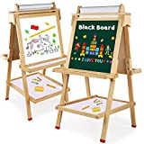 Best Kids Easels - Wooden Art Easel Children Easel with Magnetic Chalkboard Review