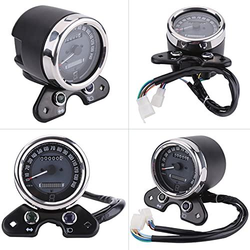 MEQNOIG Medidor de velocímetro Universal para Motocicleta, medidor de Velocidad de odómetro de luz LED de Doble Color, medidor de Millas de 12 V, Velocidad Dual