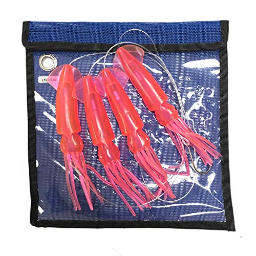 EatMyTackle 6 in. Squid Daisy Chain | 6 ft. Saltwater Fishing Teaser (Hot Pink)