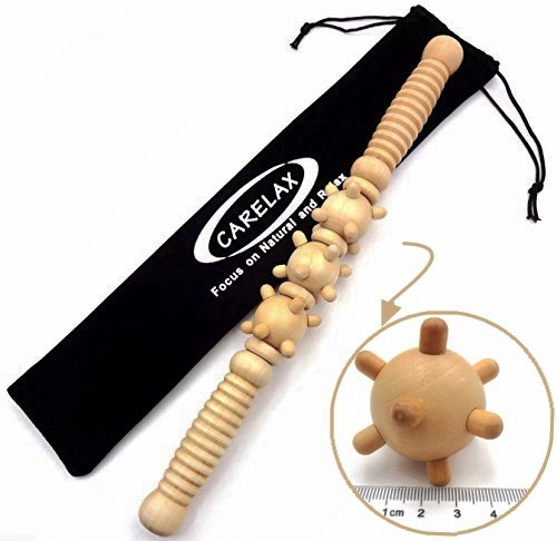 Review CARELAX Muscle Roller, Trigger Point Massage Stick, Myofascial Release Tools,Wooden Therapy M...
