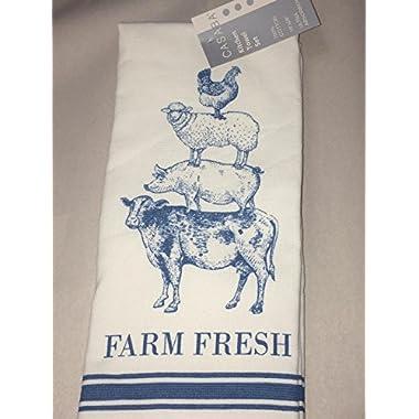 Casaba Farm Fresh Blue White Kitchen Towel Set of 2