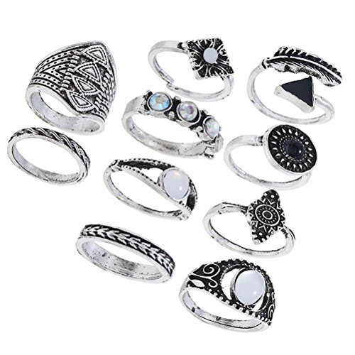 Fenical Ethnic Finger Rings Set Exaggerated Gemstone Combination Rings Suit Jewelry for Women Girls Pack 10pcs (Silver)