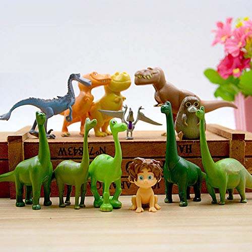 The Good Dinosaur Collection Play Set | 12 Piece Action Figure Set | Cake Topper Toy | Include Arlo, Caveboy Spot, T-Rexes and Much More!