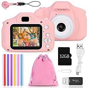 Faburo Set de Cámara de Fotos Digital para Niños, Cámara Infantil con Tarjeta de Memoria Micro SD 32GB, Cámara Digital Video cámara Infantil para Niños Niñas Regalos de cumpleaños, 1080P, Rosa