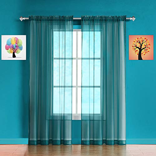 """WARM HOME DESIGNS Pair of Long Length Teal Sheer Window Curtains. Each Voile Drape is 56 X 96 Inches in Size. Great for Kitchen, Living or Kids Room. 2 Fabric Panels Included. AM Teal 96"""""""