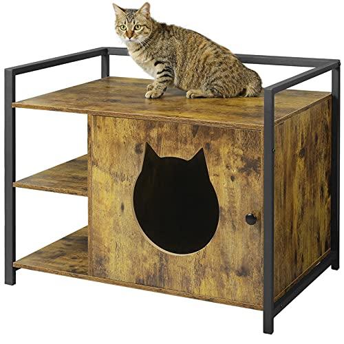 MSMASK Katzentoilette mit Regal und Tür, Katzenhöhle Entlüftung, eräumiger Katzenschrank Katzenhaus Schlafhaus für große und kleine Katzen, stabile, Beistelltisch, Nachtschrank (Vintage)