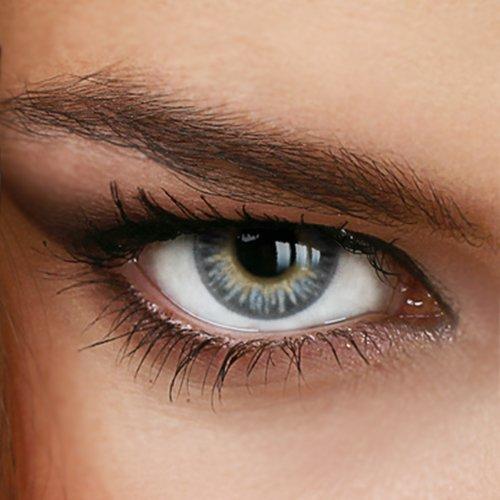 Farbige Jahres-Kontaktlinsen Rainbow GRAY - OHNE Stärke - GRAU - von LUXDELUX® - (+/- 0.00 DPT)