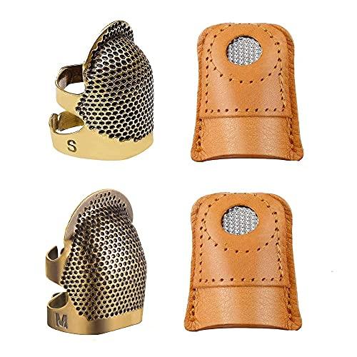 Huixindd 4 Piezas de Costura Ajustable dedal y Cuero Suave de Cuero de Hierro dedal Protector dedal Dedo Dedo Que acolchan la Herramienta de Costura Artesanal de Bricolaje (Cor : 1 Set)
