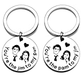 2pcs You are The Pam to My Jim Keychain Necklace The Office TV Show Inspired Gifts for Couples Wedding Anniversary Birthday Valentines Christmas Stocking Stuffer for Christmas Valentines Day