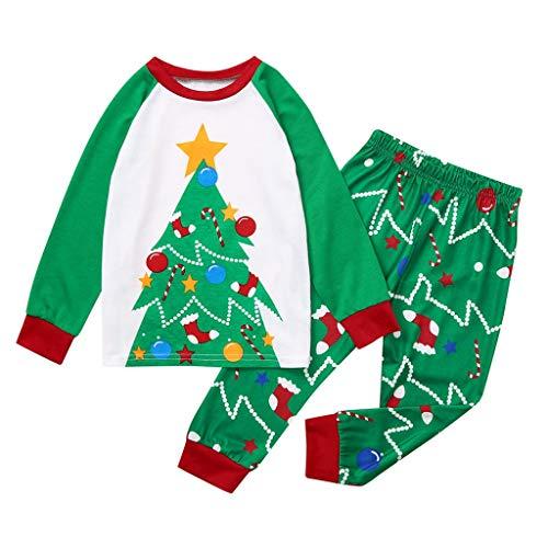1-12 Años,SO-buts Navidad Niños Niño Niña Casual Chándal Dibujos Animados Árbol Imprimir Top + Pantalones Navidad Ropa Familiar Pijamas Trajes (Verde,7-8 años)