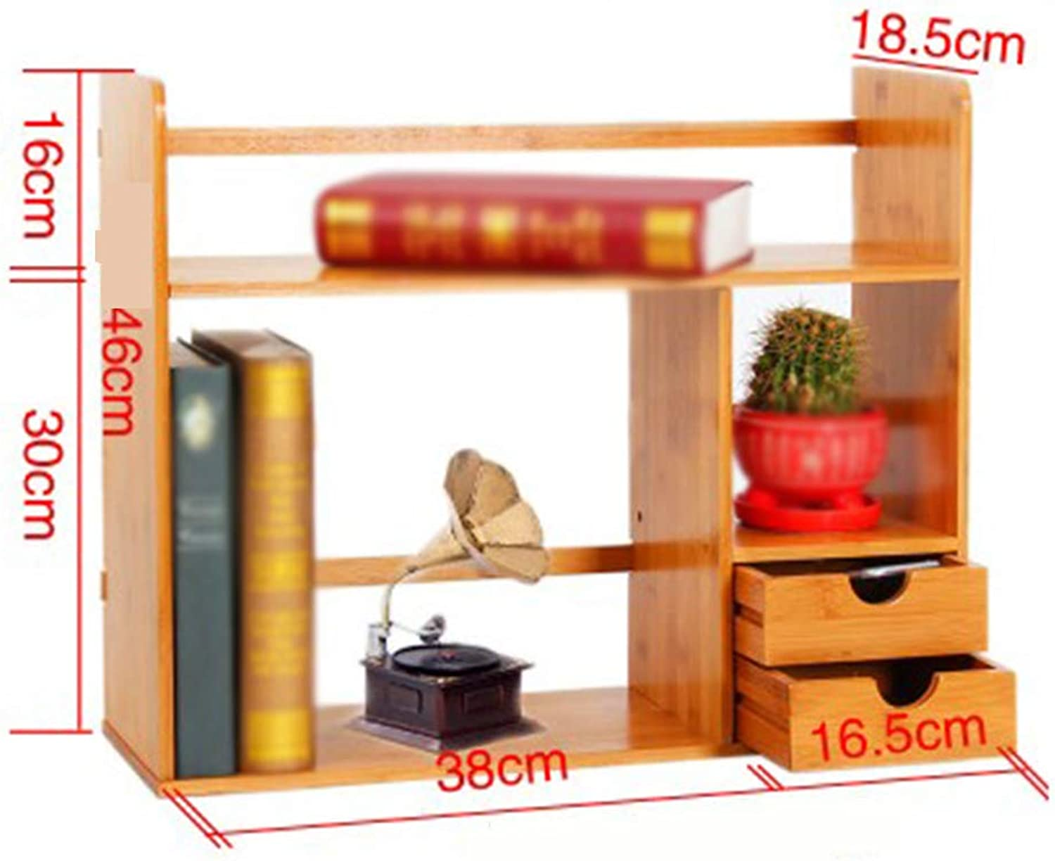 Bookcase,Bamboo Desktop Bookshelf Storage Rack Drawer Type Suitable for Homes and Offices,BrownD