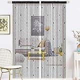 AIFENTE 1 cortina de cristal retro con borla, cortina de puerta, cortina de cuentas, cortina densa para puerta, cortina de puerta, cortina de puerta, divisor multifunción (99 x 199 cm), color negro
