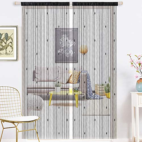 AIFENTE 1 cortina de cristal retro con borla, cortina de puerta, cortina de cuentas, cortina densa para puerta, cortina de puerta, cortina de puerta, divisor multifunción (99 x 199 cm), color