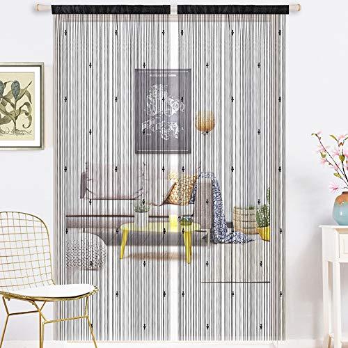 AIFENTE 1 cortina de cristal retro con borla, cortina de puerta, cortina de cuentas, cortina densa para puerta, cortina de puerta, cortina de puerta, divisor multifunción (90 x 200 cm), color negro
