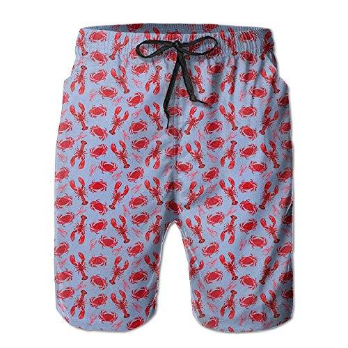 Herren Boardshorts Hummer und Krabben Beachwear Beach Lightweight Home Casual Shorts Badehose mit Quick Dry,M