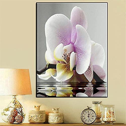 Diamond Painting Kits Full Drill Purple White Flower,DIY 5D Diamond Painting by Numbers Kits Crystal Large Embroidery Cross Stitch Art Crafts for Living bedroom Wall Decor Round Drill,60x80cm(24x32in)