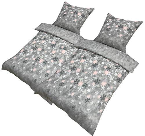 Leonado Vicenti - Fleece 4 TLG. Bettwäsche 135x200 Schneeflocken Kristall Grau Warm Flausch Garnitur Schlafzimmer Set