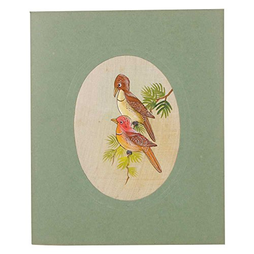 Indien étagère Papier Fait Main Indien Miniature Aquarelle Bird Paire Art Pt-122