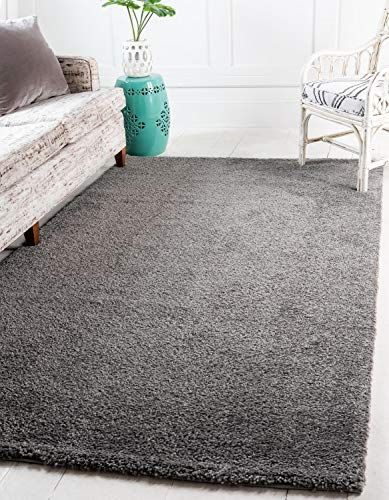 Unique Loom Solo Collection Solid Plush Kids Gray Area Rug (8