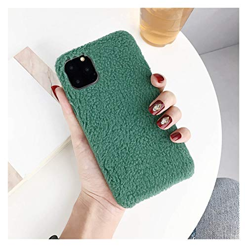 Glqwe Peluche cálido Furle Teléfono Funda para iPhone 12 Mini Pro MAX 6 7 8 11 S Plus X S XR MAX Color Color Matte Suave TPU (Color : Dark Green, Material : For iPhone 12 Pro)