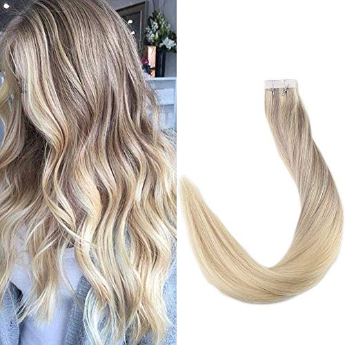 Full Shine 16 Pulgada 50 Gramos 20 Pcs Dip Dye Human Hair Tape Extensions Ombre #18 Fading to #22 and #60 Seamless Tape Extensions Remy Extensiones Adhesivas Pelo Natural