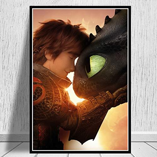 Decoración del hogar Lienzo Arte de la pared Imagen impresa Cómo entrenar a tu dragón 3 El mundo oculto Película Pintura Cartel nórdico Sala de estar 60x90CM SIN MARCO