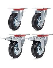 2 zwenkwielen 100 mm + 2 zwenkwielen met rem 100 mm transportwielen zware wielen plaatstaal verzinkt 70 kg / R