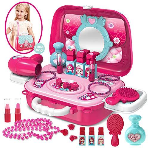 Buyger Maletin Maquillaje Niñas Juguete Princesas Belleza y Joyería Tocador Peluqueria Juego de Imitación para Niños 3 Años