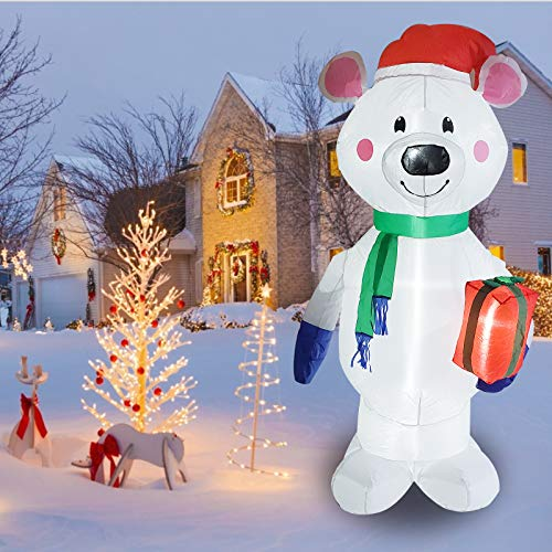 Poptrend Inflatable Christmas Decorations 6feet Inflatable Polar Bear,Christmas & X'mas Yard Inflatables with Bright LED Christmas Lights – Wacky, Funny, Colorful, Festive Holiday Spirit (6 Feet)