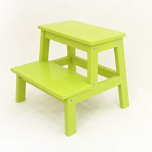 Qi Tai échelle télescopique Petite échelle en bois de tabouret de 2 étapes pour cuisine d'intérieur d'adultes et d'enfants (Couleur   Vert)