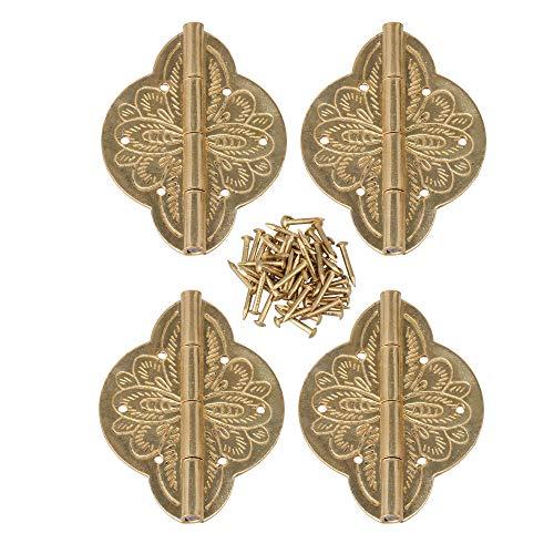 BQLZR 5 x 3,9 cm, bisagras de latón para puerta de gabinete con tornillos, 4 unidades