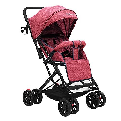 Kinder Buggy, Zusammenklappbar Jogger, nur 5 kg Ultra Leicht Kinderwagen mit sonnenschutz, 8 Räder XL Einkaufs Korb, Jogger Liegeposition ab Geburt (Rot)
