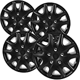 OxGord 14 inch Hubcaps Best for - Toyota Solara - (Set of 4) Wheel Covers 14in Hub Caps Matte Black Rim Cover - Car Accessories for 14 inch Wheels - Snap On Hubcap, Auto Tire Replacement Exterior Cap