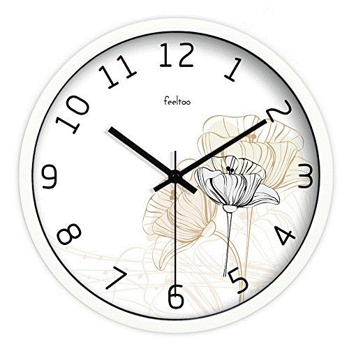WERLM Clock Moderne, Apart Silent Clock Home wandklok woonkamer metaal ronde kwarts wandklok muur hanger tafel ideaal voor thuis keuken kantoor school, 12 inch, witte doos