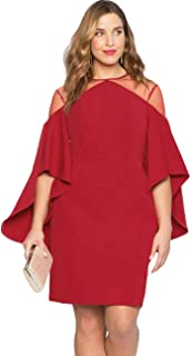 Dean Fast Women's Plus Size Mesh Cold Shoulder Bell Sleeves Mini Pencil Dress
