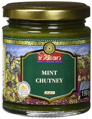 TRULY INDIAN Minz Chutney, Würzig-scharfes Chutney mit Minz Aroma als Dip oder Fertigsauce für schnelle Gerichte, Indisch kochen mit natürlichen Zutaten (6 x 190 g)