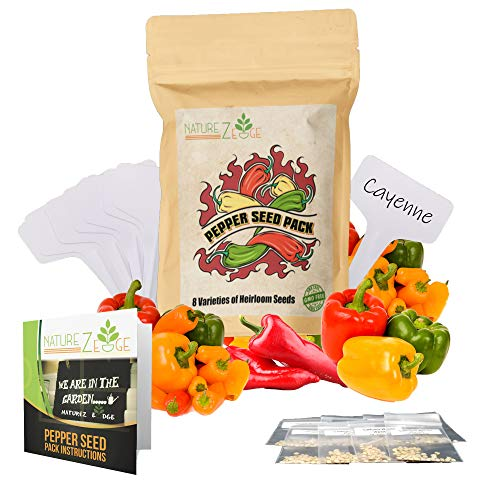 Hot Pepper Seeds 8 Varieties, Jalapeno Pepper, Cayenne Pepper, Serrano, Habanero, Anaheim, and More, Seeds for Planting in Your Garden, Heirloom Seeds Starter Kit, Non-GMO
