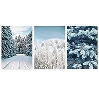冬の雪の森植物風景キャンバス絵画ポスターとプリント部屋の壁の写真(フレーム付き)