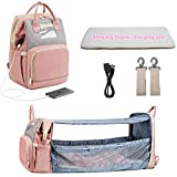 3 in 1 Multifunctional Diaper Bag Backpack Can be Converted Into a Travel Baby Bassinet or Crib. with Diaper Changing Station, USB Port and Sun Shade. Delivery Within 13-20 Days (Pink)