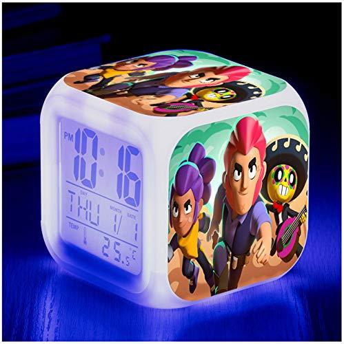 HHIAK666 Reloj de Alarma Cute Anime, 7 Colores LED Brillante Reloj Despertador Digital, para niños Festival Regalos Función de repetición multifunción Reloj 14