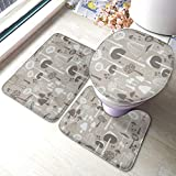 Bath Mat Sets, Grey Mushrooms U-Shape Bathroom Rugs Lid Toilet Cover 3-Piece Accessories with Rubber...