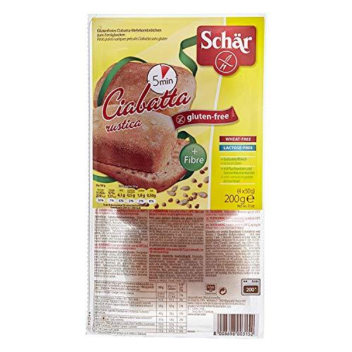 Dr. Schar Ciabattine Rustiche Pan - Paquete de 4 x 50 gr - Total: 200 gr